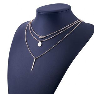 Jewelry - 4 for $25 crystal coin bar layer necklace